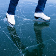 Young woman ice skating outdoors on a pond on a freezing winter — Stock Photo #9557141