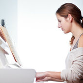 Playing Piano (shallow DOF; color toned image) — Stock Photo