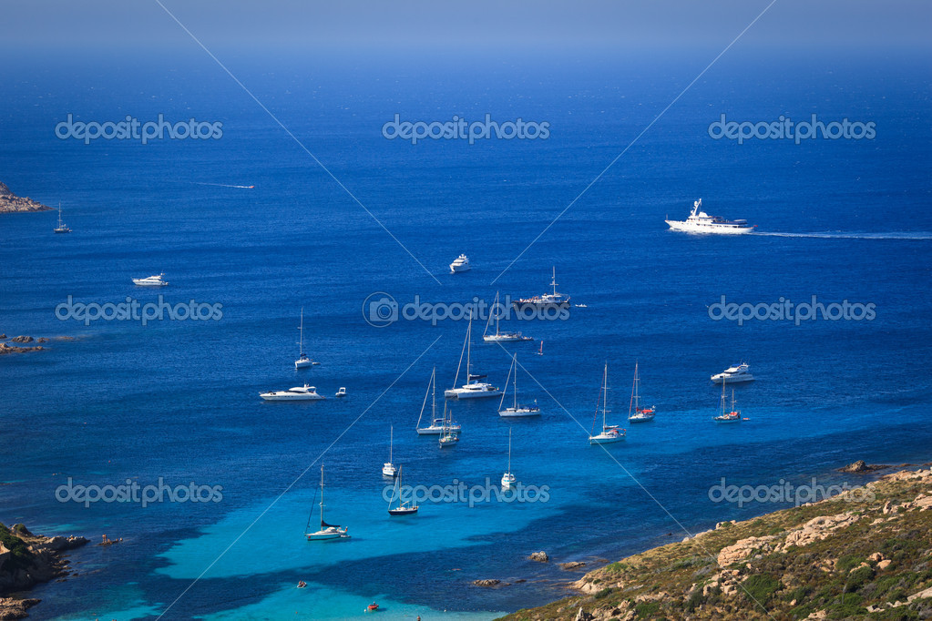 Stock Photo:Splendid corsica coastal waters with boats — Stock Photo #9557217