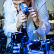 Scientist doing research in a quantum optics  lab - Lizenzfreies Foto