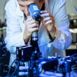 Stock Photo: Scientist doing research in quantum optics lab