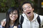 Asian friends with big smile — Stock Photo