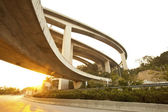 Highway and freeway at sunset in Hong Kong — Stock Photo