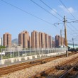 Stock Photo: Tuen Mun downtown and railway of light rail