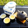 Chinese tea set under sunlight — Stock Photo