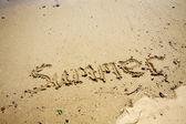 καλοκαίρι λέξεις στην άμμο — Φωτογραφία Αρχείου
