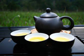 Chinese tea set with tea pots — Photo