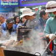 Sweet potatoes hawker in Hong Kong — Stock Photo