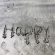 Happy words on sand — Stock Photo