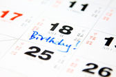 Birthday on calendar — Stock Photo