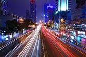 Traffic through downtown of Shenzhen at night — Stock Photo