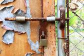 Serratura e la porta arrugginita — Foto Stock