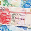 Hong Kong currency with different dollars background — Stock Photo