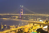Tsing Ma Bridge in Hong Kong with highway background — Stock Photo