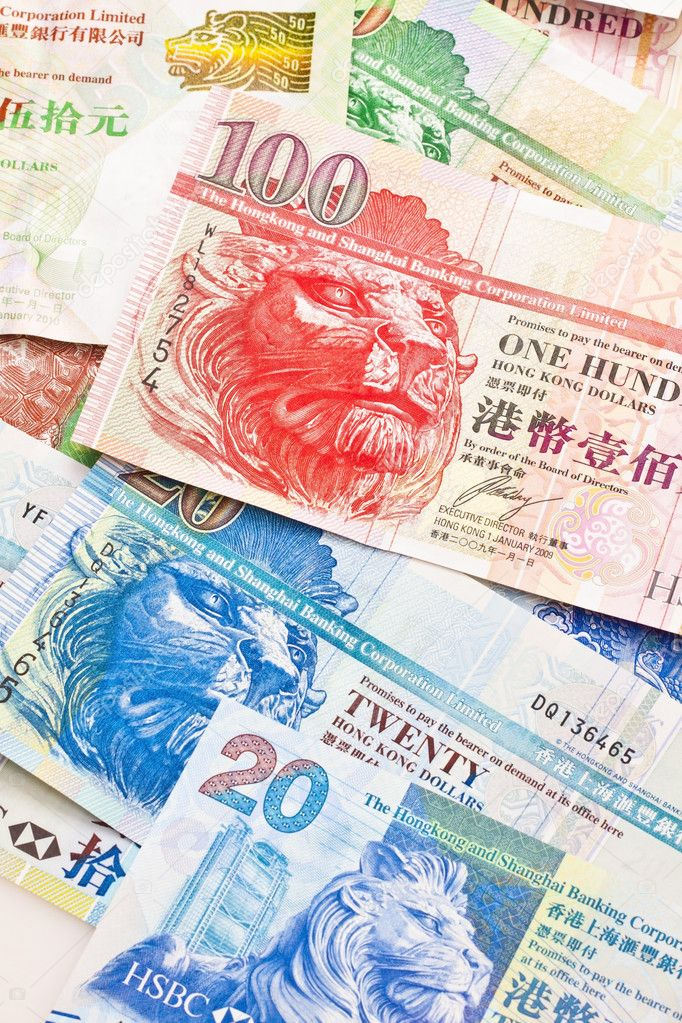 Hong Kong currency with different dollars background — Stock Photo #9113160