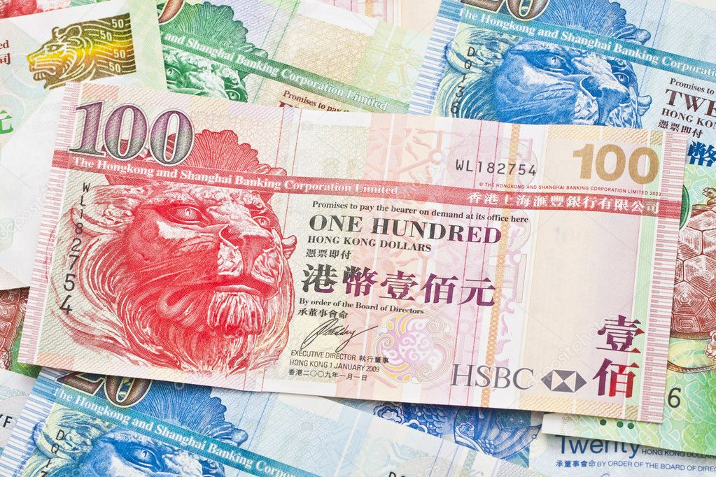 Hong Kong currency with different dollars background — Stock Photo #9113203