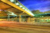 Traffic in Hong Kong at night, HDR image. — Stock Photo
