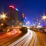 Traffic through downtown of Hong Kong at night — Stock Photo #9130284
