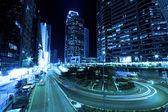 Hong Kong at night in cyber tone — Stock Photo