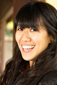 Asian woman with smiling face — Stok fotoğraf