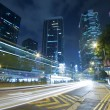 traffic in downtown of hong kong at night — Stock Photo