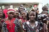 Afrikalı çocuklar mutlu bir şekilde gülümseyerek — Stok fotoğraf