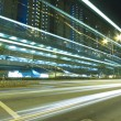 Stock Photo: Traffic through downtown of Hong Kong at night