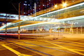 Light rail at night in Hong Kong, it is a kind of transportation — Foto Stock