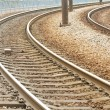 Close-up of the railway tracks complex junction — Stock Photo