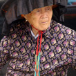 A Hakka old woman in Kat Hing Wai of Hong Kong - Stock Photo