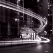 Traffic in Hong Kong at night in black and white toned — Stock Photo #9398779