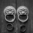 Chinese door in black and white tone — Stock Photo