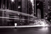 Busy traffic in Hong Kong at night in black and white — Stock Photo