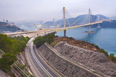 Ting kau pont au coucher du soleil à hong kong — Photo