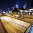 Traffic in downtown Hong Kong at night — Stock Photo