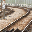 Stock Photo: Railway in train station