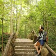 Asian woman travelling in forest — Stock Photo