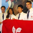 Stock Photo: Equestriolympic games participants in Hong Kong, press confer
