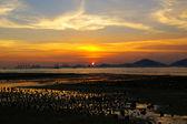 Beautiful sunset along seashore in Hong Kong — Stock Photo
