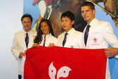 Equestrian olympic games participants in Hong Kong, press confer — Stock Photo