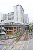 Hong Kong downtown apartments and traffic — Stock Photo