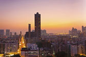 Hong Kong downtown city scene at sunset — Stock Photo