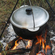 Cauldron on a campfire — Stock Photo
