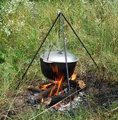 Cauldron on a campfire — Stock Photo