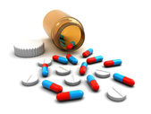 Medicine bottle with pills — Stock Photo
