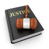 Justice book and a gavel — Stock Photo