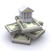 Bank building and money — Stock Photo