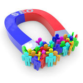 Horseshoe two color magnet attracts abstract visitors. — Stock Photo