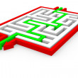 Green arrows going through the maze. Path across labyrinth. — Stock Photo