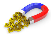 Horseshoe two color magnet attracts gold dollar signs. — Stock Photo